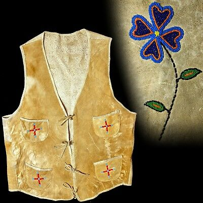 Vintage 1930s Native American Beaded leather  Four Pocket Vest 38