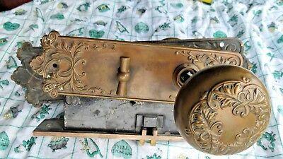 Old Antique Victorian P & F Corbin Ornate Door Knob Lock Set Brass Fancy Set