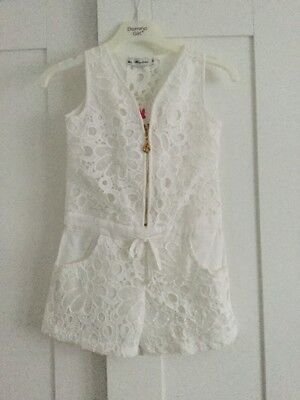 Girls Beautiful Cream Lace Look Playsuit Age 4 Years