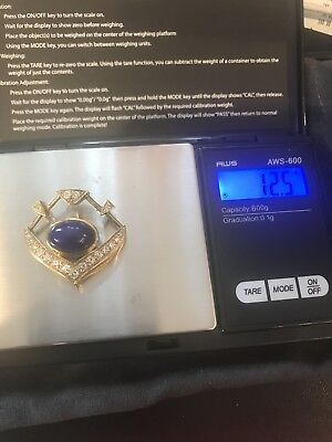 18k Yellow Gold Not Scrap Pendant Diamonds Lapis  12.5 Grams