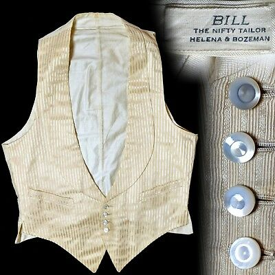 Vintage 1900s 1910s Bill the Nifty Tailor white formal vest XS