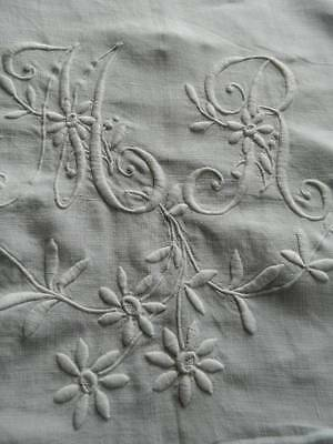 "Antique white Irish linen sheet sham - hand embroidered monogram ""M.R"" 80"" wide"