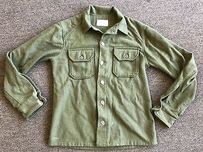 VINTAGE ORIGINAL US ARMY WOOL SHIRT COLD WEATHER FIELD SMALL W/ Fancy Buttons