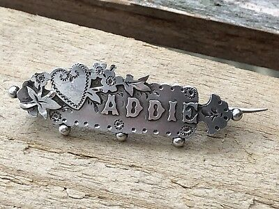 Antique Victorian Ornate Sterling Silver ADDIE Sweetheart Brooch 1894