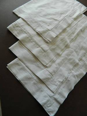 Four (4) vintage white Oxford style pillowcases with ladderwork hems.
