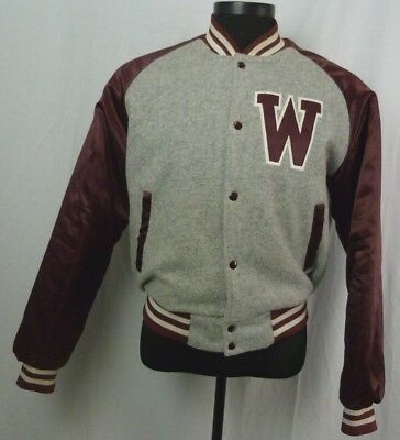 Chalk Line Mens Gray Burgundy WSU Washington State University Bomber Jacket SZ L