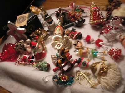 Vintage Lot of 30 Christmas Tree Decorations Ornaments Santas Bears Angels Mice