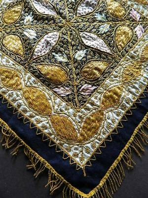 Antique raised couched gold metallic thread & silk hand embroidery on black wool