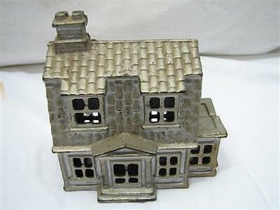 Vintage Cast Iron Farm House Building Dime Still Bank Home Toy Penny Coin B