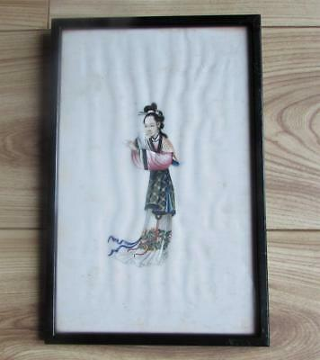FINEST CHINESE ANTIQUE 19thC RICE PAPER PITH  PAINTING - BEAUTIFUL WOMAN
