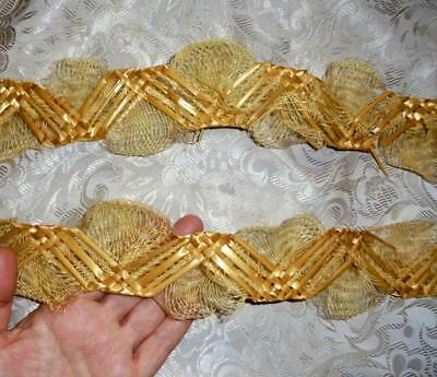 5m UNUSED BUNDLE 19th CENTURY FRENCH PLAITED STRAW LACE FOR HAT MAKING MILLINERY