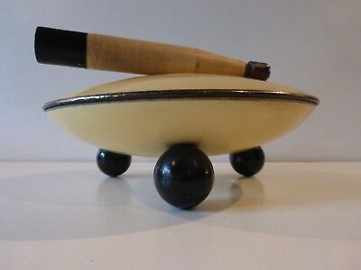 Art Deco Powder Compact Flying Saucer Shape Geometric Top Ball Feet Mirror