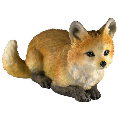 "Red Fox Crouching Figurine 5.25"" Long Highly Detailed Polystone New In Box"