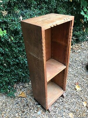 Small Vintage Antique Carved Oak Bookcase Shelves