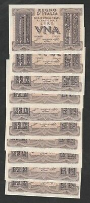 10 Pcs Of 1 Lire From Italy Unc