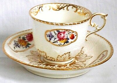 C19Th Samuel Alcock Staffordshire Hand Painted And Moulded Cup And Saucer