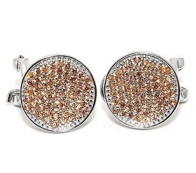 2CT Padparadscha Sapphire 925 Solid Sterling Silver Earrings Jewelry