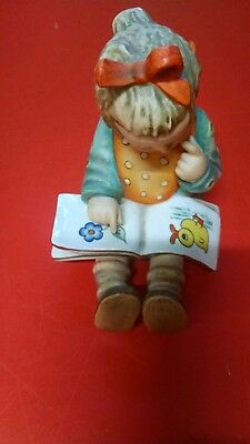 Vintage Hummel Girl Bookworm 3/i Mint Girl Reading Book With Duck & Flowers