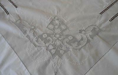 Antique Cotton Bed Sheet Honeycomb Lace Shadow Embroidery Full Queen
