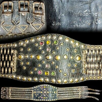 "Vintage 1940s Buco Leather Motorcycle Jeweled Studded Kidney Belt 33"" to 37-3/4"""