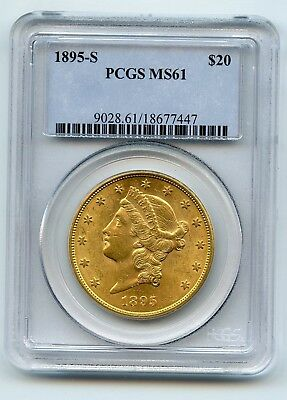 1895-S $20 Liberty Head Gold Double Eagle (MS 61) PCGS TOUGH COIN TO FIND!!