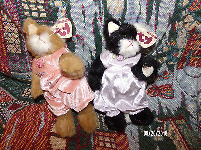2 Ty Collectible Cats 1993 NWT Pouncer & Purrcy