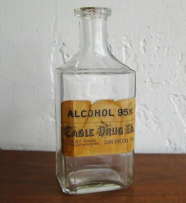Antique Eagle Drug Co Store Alcohol Bottle San Diego Apothecary Vtg Drugstore