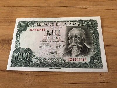 Spain 1000 Pesetas From 1971 In EF Condition