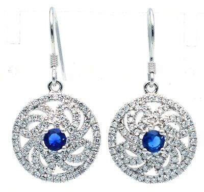 Blue Sapphire & White Topaz 925 Solid Genuine Sterling Silver Earrings Jewelry
