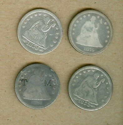 Seven Different U.S. Seated Liberty Quarter Silver Coins