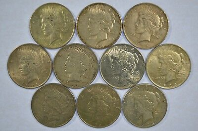 Lot of 10 Collectible Silver Peace Dollars (b395.63)