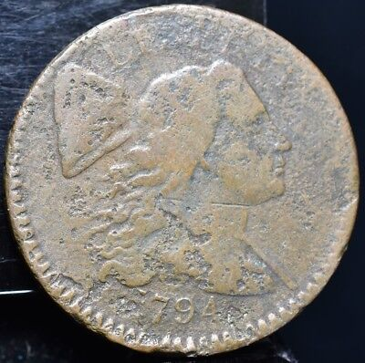 1794 Flowing Hair Large Cent Lettered Edge