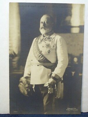 King Edward VII of England in Uniform Sword Medals Real Photo Royalty Postcard