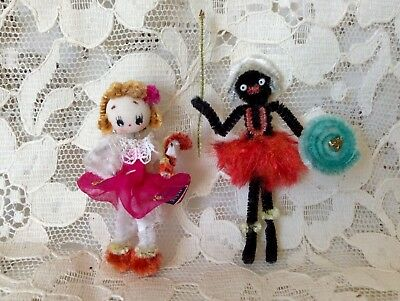 2Vintage Mini Chenille Pipe Cleaner Dollhouse Dolls Black African Silk Face Girl