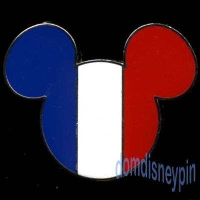 Disney Pin DLRP Paris Mickey Icon French Flag (Smaller than American Version)!