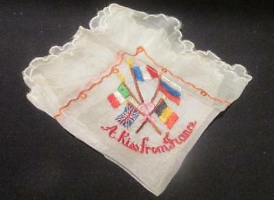 A Kiss From France WWI Era Silk Embroidered Handerkchief Allied Countries' Flags