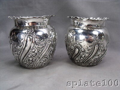 Pair English Hallmarked Sterling Silver Repousse' Vases $9.99 No Reserve!
