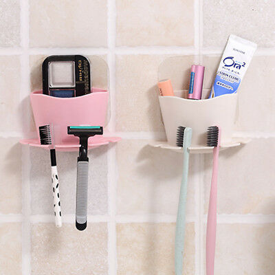 Bathroom Toothbrush Toothpaste Suction Holder Wall Mount Stand Rack Organizer