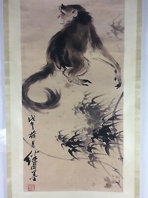 Old Collectible Chinese Famous Monkey & Bamboo Rare Decoration Painting Scroll