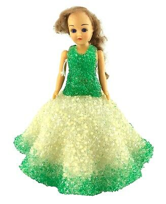 Vintage Christmas Tree Topper or Window Sill Doll with Melted Plastic Bead Dress