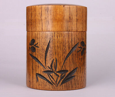 Wood Tea Caddy Seal Box Carved Orchid Old Japanese Style Sealed