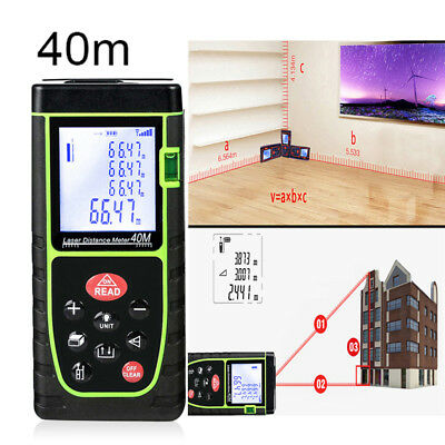 40m Digital Handheld Laser Distance Meter Range Finder Measure Diastimeter Tool