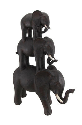 "NEW - African Elephants Trio Stack Of Poly Stone 17"" Height Room Center Piece"