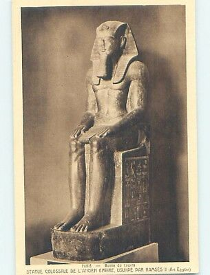 Unused Old Postcard EGYPTIAN STATUE FROM EGYPT AT LOUVRE Paris France F5467