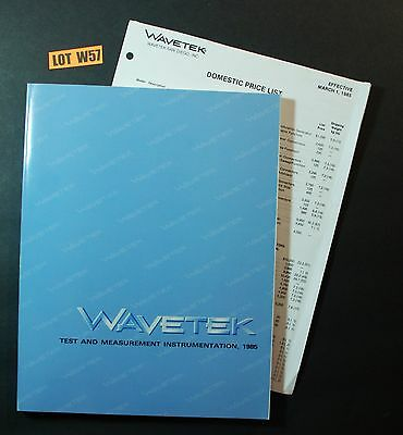 Wavetek Test And Measurement Instrumentation Catalog + Price List 1985 LOT W57