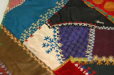 Antique Crazy Quilt Section Embroidered Detailed Stitching Study CS2