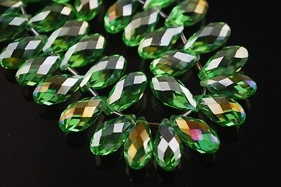 5pcs 20x10mm Teardrop Faceted Crystal Glass Loose Beads Pendants Light Green AB