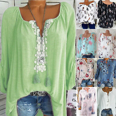 Womens Boho Floral T-shirt Blouse Long Sleeve Casual Loose Tops Over Size 8-22