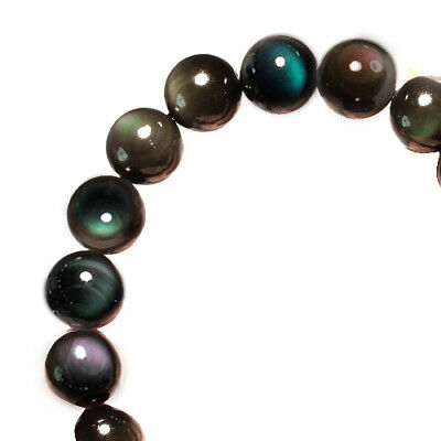 119.1Ct 100% Natural Mexican Rainbow Obsidian Bead Bracelet BROb652