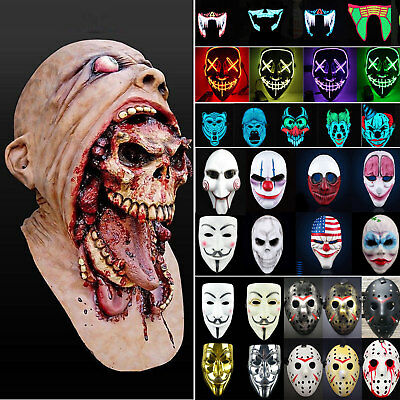 Adults Halloween Zombie Scary Face Mask Costume Horror Props Cosplay Fancy Dress